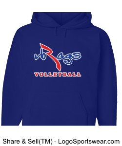 VB RAGS VOLLEYBALL SIGNATURE HOODIE - ROYAL BLUE Design Zoom